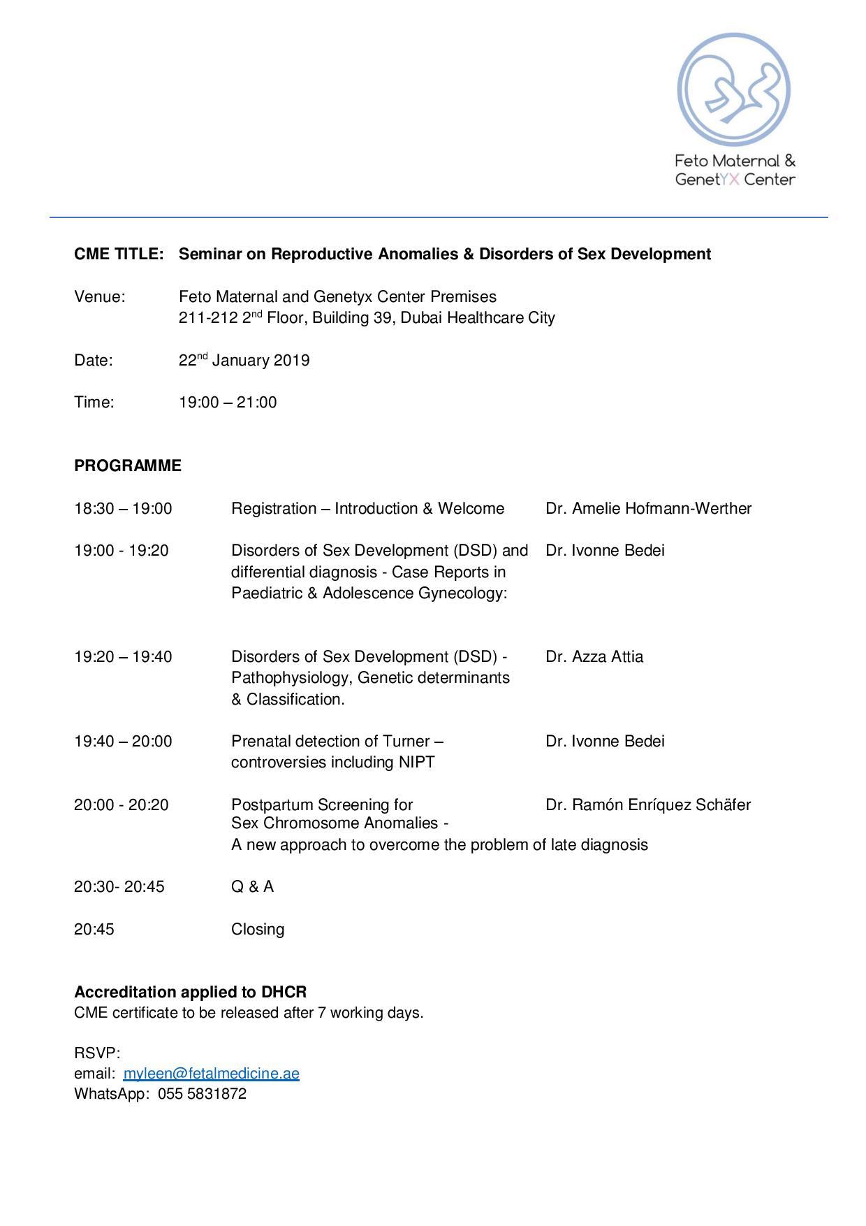 Dubai: FREE CME Seminar for OB/GYNs on January 22 | DrFive